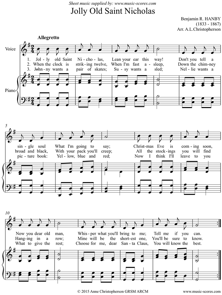 Front page of Jolly Old Saint Nicholas: Voice sheet music