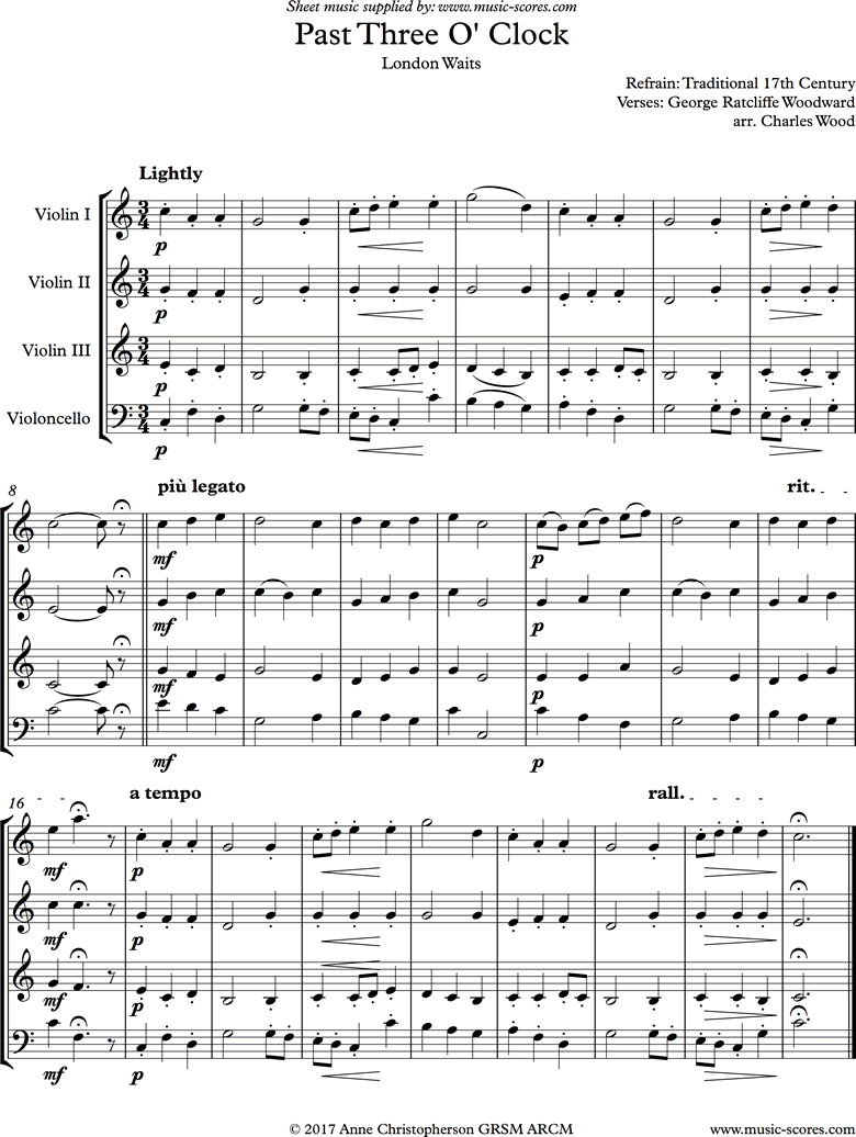 Front page of Past 3 oclock: 3 Violins, Cello sheet music