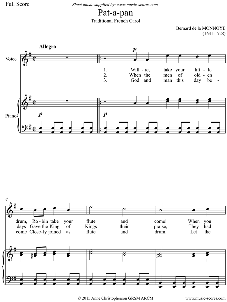 Front page of Patapan: Voice: English words sheet music