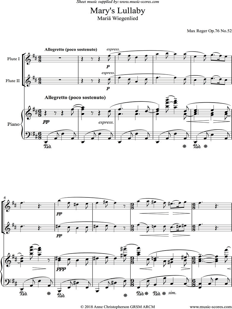 Front page of Marys Lullaby: 2 Flutes, Piano. sheet music