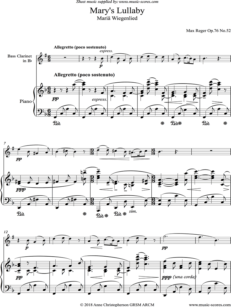 Front page of Marys Lullaby: Bass Clarinet, Piano. sheet music