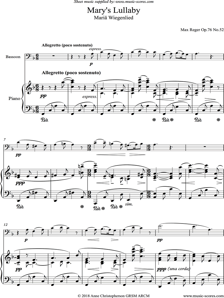 Front page of Marys Lullaby: Bassoon, Piano. sheet music