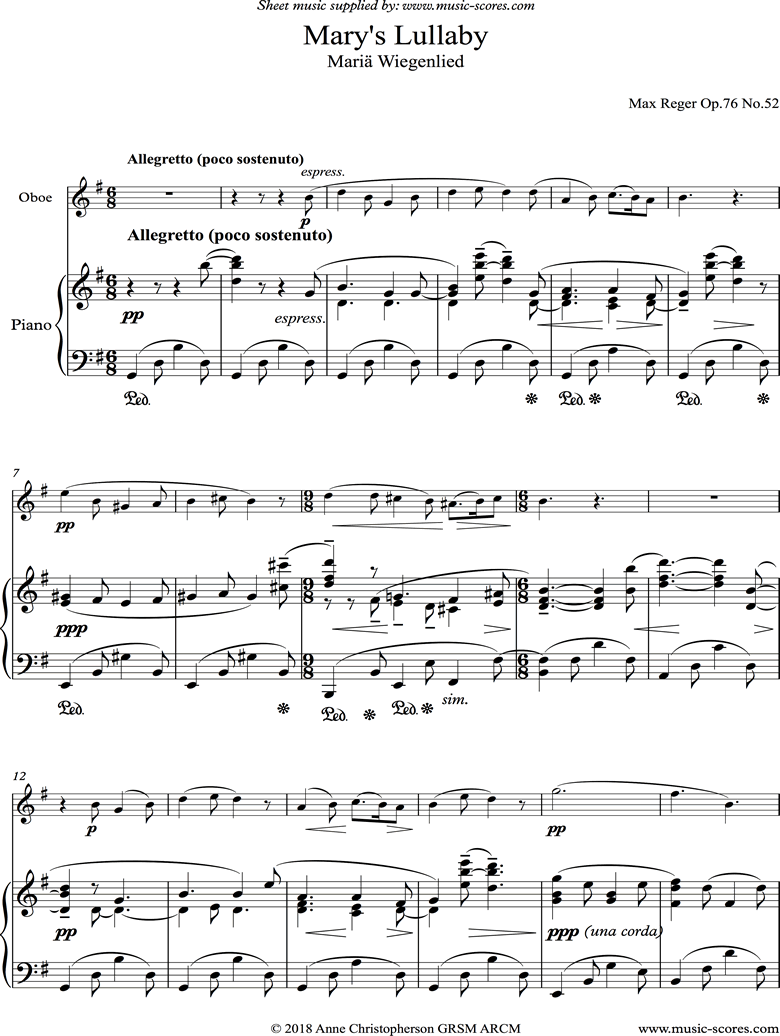 Front page of Marys Lullaby: Oboe, Piano. sheet music