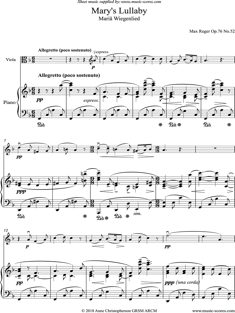 Front page of Marys Lullaby: Viola, Piano. sheet music