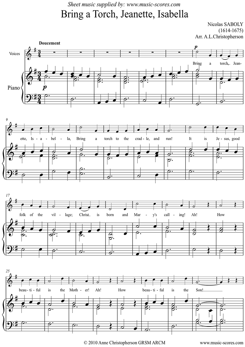 Front page of Bring A Torch, Jeanette, Isabella: Voice sheet music