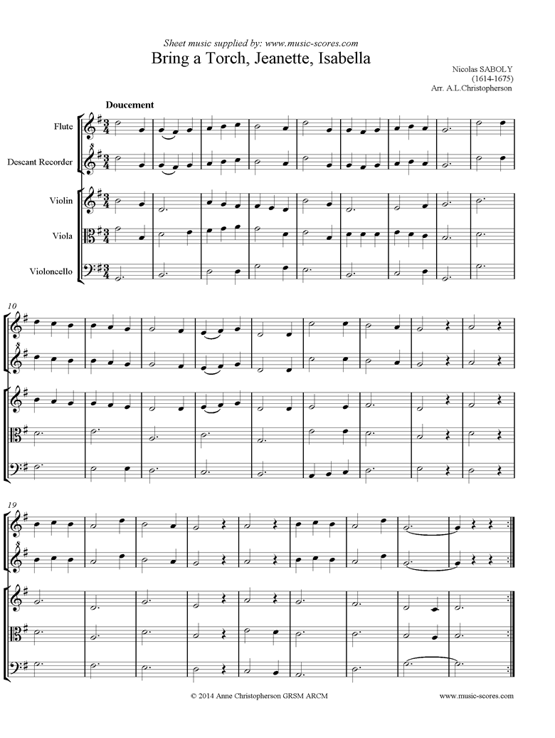 Front page of Bring A Torch, Jeanette, Isabella: Mixed Ensemble sheet music