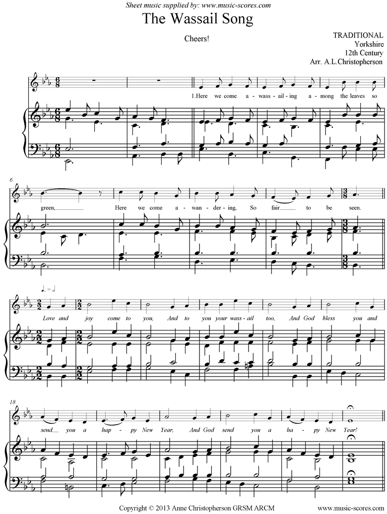 Front page of Wassail Song sheet music