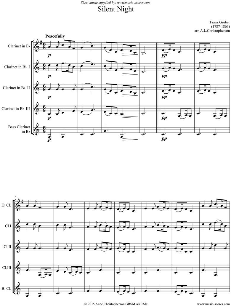 Front page of Silent Night, Holy Night: Clarinet 5: Bb sheet music