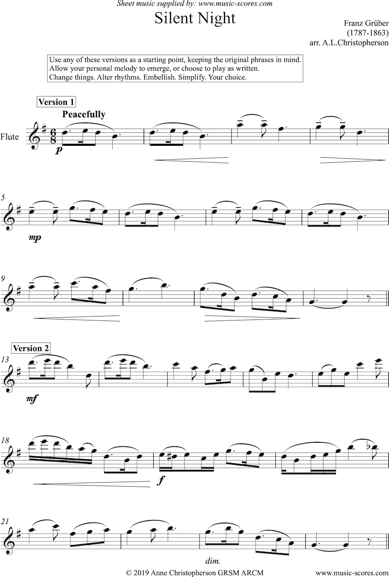 Front page of Silent Night, Holy Night: Solo Flute sheet music