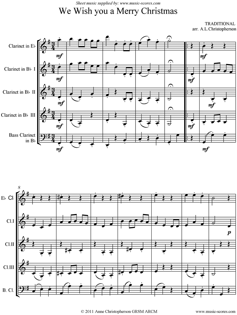 Front page of We Wish You a Merry Christmas: Clarinet Quintet sheet music