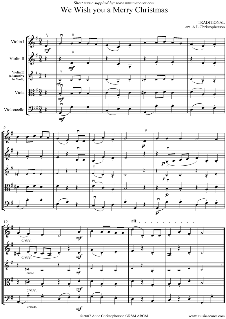 Front page of We Wish you a Merry Christmas: String Quartet sheet music