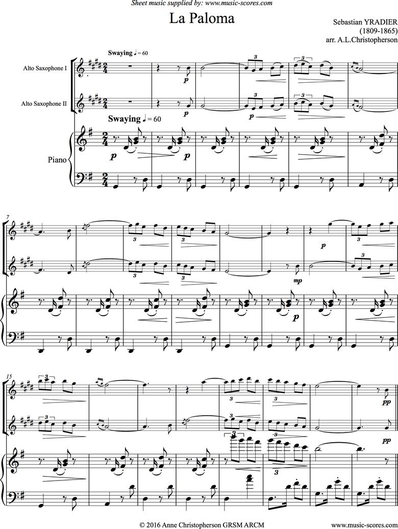 La Paloma: 2 Alto Saxes, Piano by Yradier