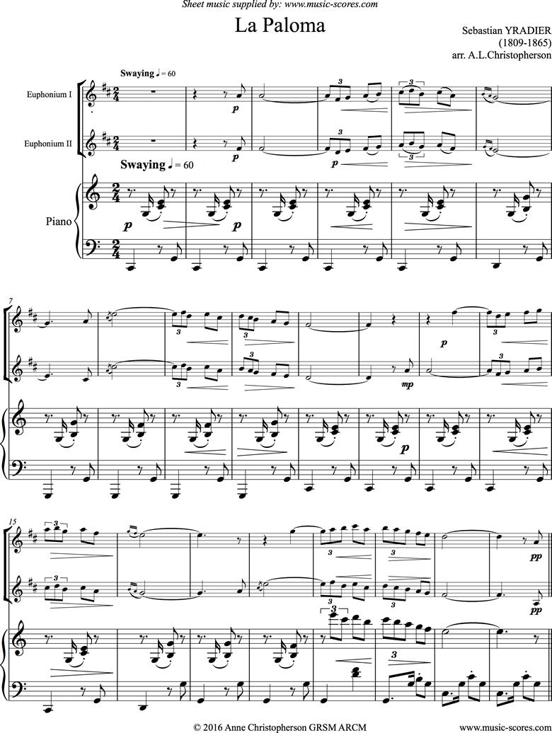 La Paloma: 2 Euphs, Piano by Yradier