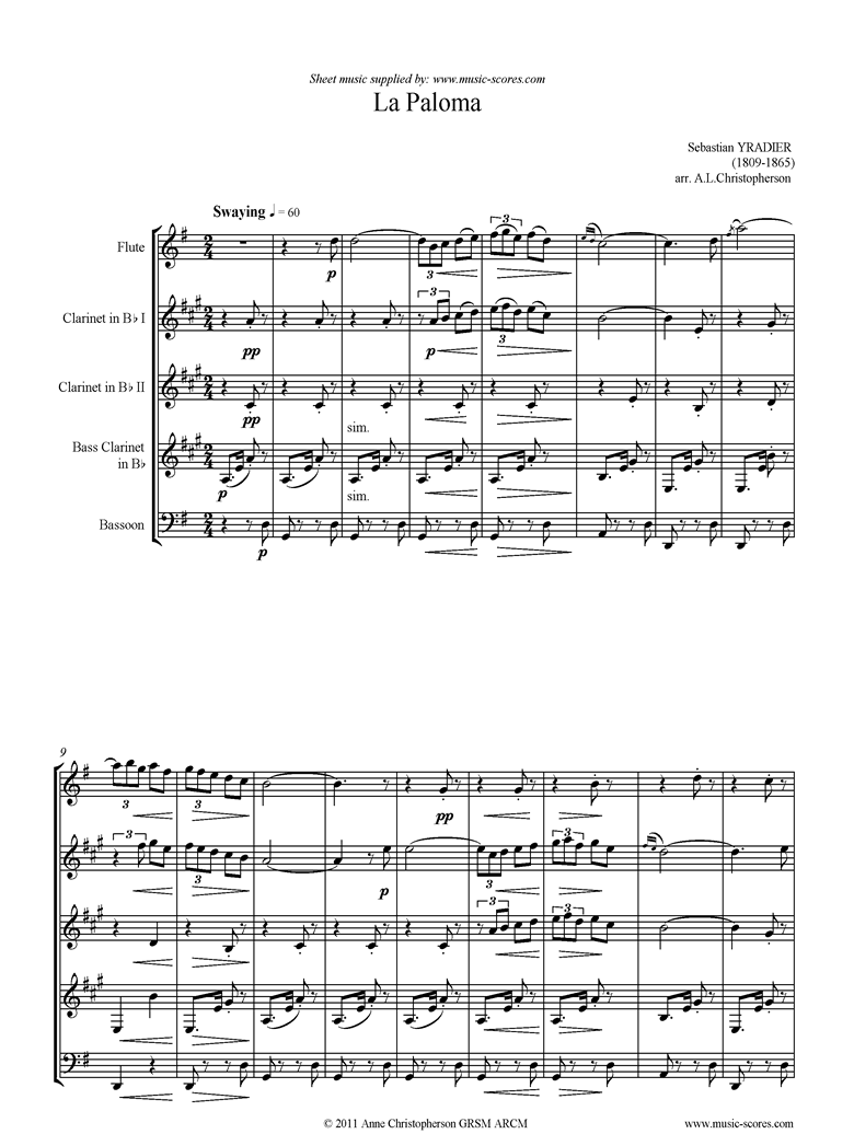 Front page of La Paloma: Flute, 2 Clarinets, Bassoon, Bass Clarinet sheet music