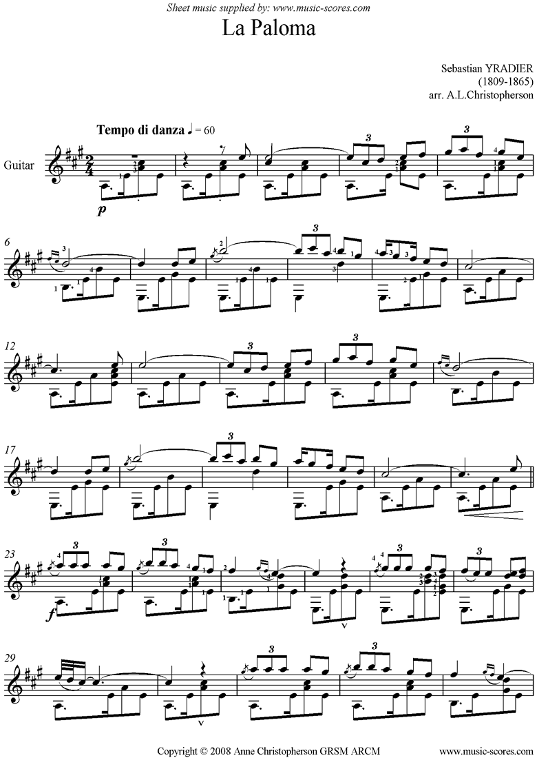 La Paloma: Guitar by Yradier