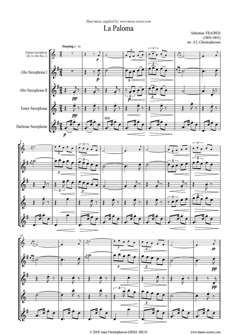 La Paloma: Sax Quartet by Yradier