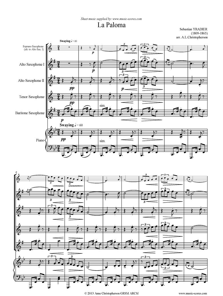La Paloma: Sax Quartet, Piano by Yradier
